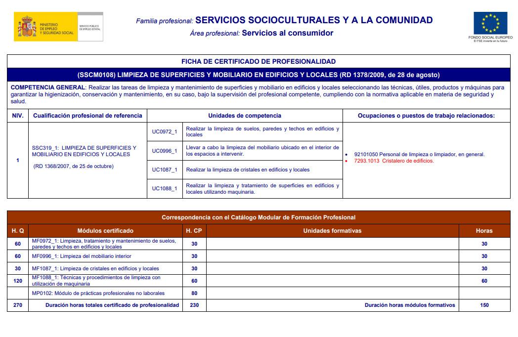 LIMPIEZA DE SUPERFICIES Y MOBILIARIO EN EDIFICIOS Y LOCALES (SSCM0108)